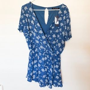 One Clothing Blue Floral Romper